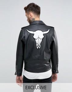 Кожаная байкерская куртка с нашивкой в виде черепа барана на спине Reclaimed Vintage - Черный