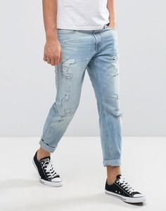 Укороченные рваные джинсы скинни Hollister - Синий