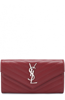 Кожаный кошелек с клапаном и логотипом бренда Saint Laurent