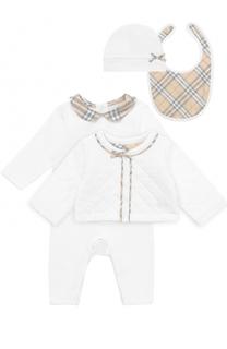 Хлопковый комплект из пижамы с нагрудником и кардигана с шапкой Burberry