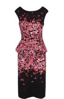 Платье-футляр без рукавов с принтом и баской St. John