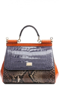 Сумка Sicily medium из кожи питона и крокодила Dolce & Gabbana