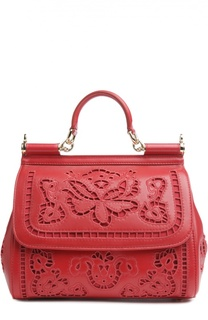 Сумка Sicily medium с прорезной вышивкой Dolce & Gabbana