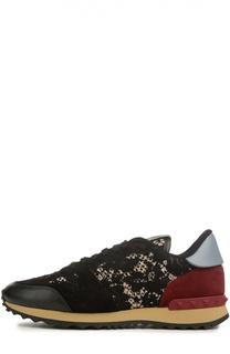 Комбинированные кроссовки Rockrunner с кружевной отделкой Valentino