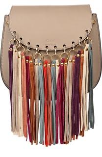 Кожаная сумка Hudson с замшевыми кисточкам Chloé