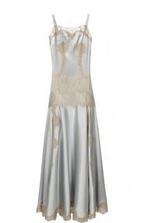 Платье-комбинация в пол с кружевной вставкой Dolce & Gabbana