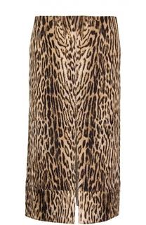 Юбка-миди с разрезами и леопардовым принтом Chloé