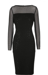 Полупрозрачное платье-футляр с пайетками St. John