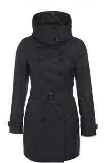 Утепленное двубортное пальто с поясом и капюшоном Burberry