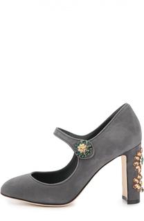 Замшевые туфли Vally с декором Dolce & Gabbana