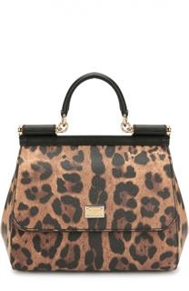 Сумка Sicily medium с леопардовым принтом Dolce & Gabbana
