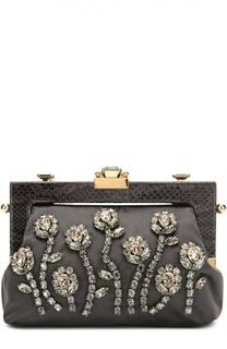 Клатч Vanda с кристаллами и отделкой из кожи питона Dolce & Gabbana