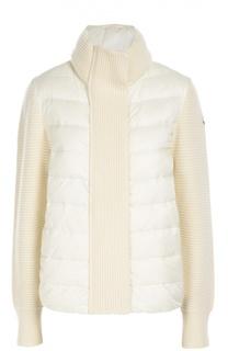 Вязаная куртка с утепленной вставкой и высоким воротником Moncler
