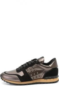 Кроссовки Rockrunner из ламинированной кожи Valentino