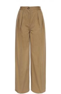 Широкие брюки с завышенной талией и защипами Moncler