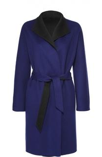 Пальто прямого кроя с укороченным рукавом и поясом Armani Collezioni
