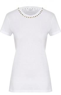 Хлопковая футболка прямого кроя с заклепками Valentino