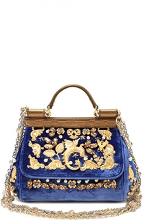 Бархатная сумка Sicily с кристаллами и металлическим декором Dolce & Gabbana