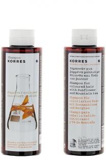 Шампунь для окрашенных волос с подсолнухом и гаультерией Korres