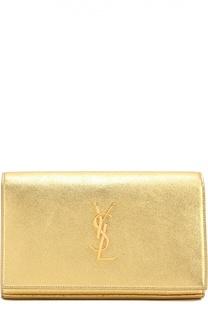 Сумка Monogram из металлизированной кожи Saint Laurent