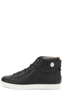 Высокие кожаные кеды на шнуровке с молнией Gianvito Rossi