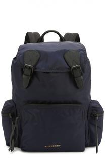 Текстильный рюкзак с клапаном и отделкой из натуральной кожи Burberry