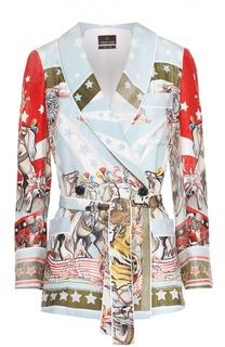 Шелковый жакет с ярким принтом и поясом Roberto Cavalli