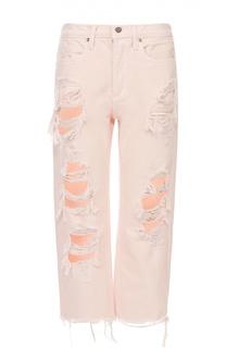 Укороченные джинсы прямого кроя с потертостями Denim X Alexander Wang