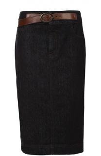 Джинсовая юбка-карандаш с кожаной отделкой Tom Ford