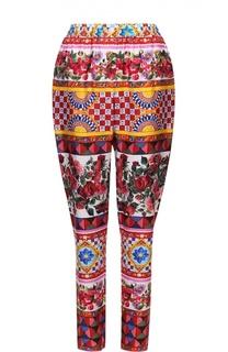 Шелковые брюки-бананы с ярким принтом Dolce & Gabbana