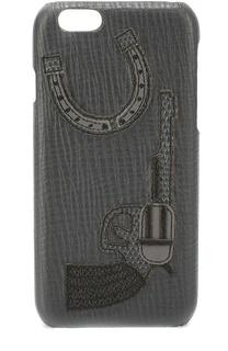 Кожаный чехол для iPhone 6/6S с аппликацией Dolce & Gabbana