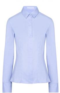 Приталенная хлопковая блуза BOSS