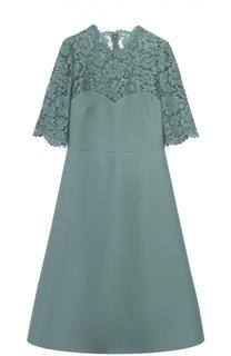 Приталенное платье с кружевным лифом и коротким рукавом Valentino