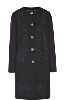 Пальто прямого кроя с цветочной отделкой и декорированными пуговицами Dolce & Gabbana