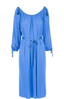 Платье-миди с поясом и открытыми плечами Roberto Cavalli