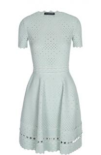 Приталенное платье ажурной вязки Alexander McQueen