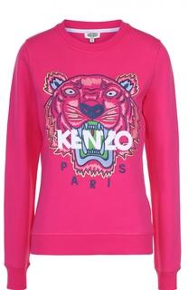 Хлопковый свитшот с контрастной надписью и логотипом бренда Kenzo