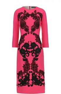 Платье-миди с укороченным рукавом и контрастной кружевной отделкой Dolce & Gabbana