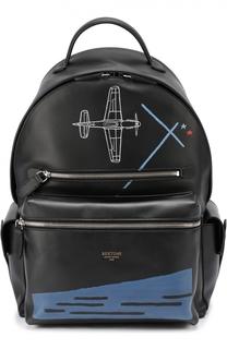 Кожаный рюкзак с контрастным принтом Bertoni
