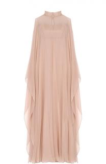 Платье-макси с прозрачным шелковым кейпом Valentino