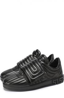 Кожаные кроссовки с застежкой велькро Versace