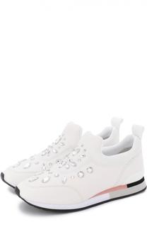 Кожаные кроссовки с кристаллами Tory Burch