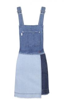 Джинсовое мини-платье на бретельках Steve J & Yoni P
