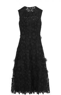 Приталенное кружевное платье с фактурной отделкой Valentino