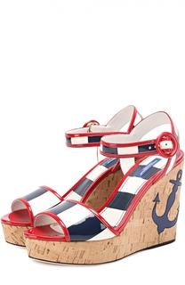 Лаковые босоножки Keira на танкетке Dolce & Gabbana