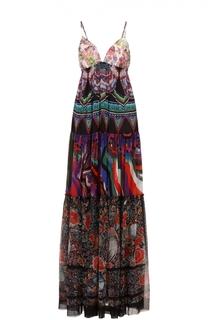 Платье-макси свободного кроя на тонких бретельках Roberto Cavalli