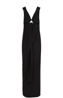 Платье-макси с драпировкой и декоративной отделкой Tom Ford