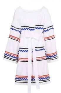 Льняное мини-платье свободного кроя с контрастной отделкой и поясом Lisa Marie Fernandez