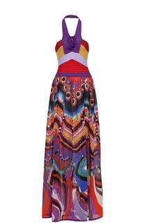 Платье-макси с вязаным лифом и открытой спиной Roberto Cavalli