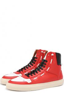 Высокие кожаные кеды на шнуровке с контрастной отделкой Givenchy